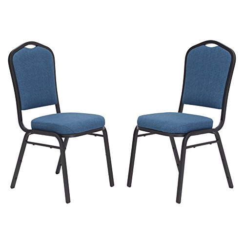 (National Public Seating 9374-BT/2 9300 Ser Fabric Upholstered Stack Chair, Steel, Blue/Black (Pack of 2))