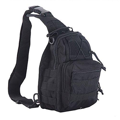 aiyuda táctico militar MOLLE 600d bandolera Sling Crossbody pecho bolsa Pack para Camping Trekking Senderismo Ciclismo, color negro, tamaño talla única, volumen  6 negro
