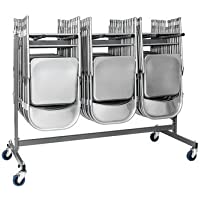 ZOWN Commercial 60248GRY1E Heavy Duty Folding Chair Trolley Cart with Locking Casters, Gray