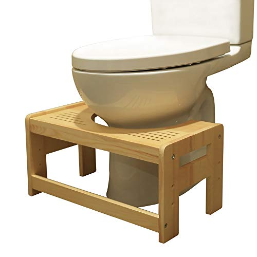 Toilet Stool Wood 5' 7' 9 inch Adjustable Bathroom Squantting Stool for Potty Assistance,Foot Step Stool for Adults Children Toilet Posture and Healthy Release, Fits All Toilets Hide Design Compact