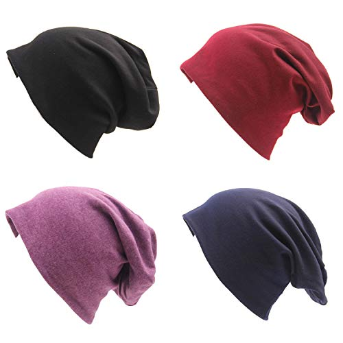 Beanie Cotton Stretch (BLUBOON Soft Cotton Slouchy Stretch Beanie Hat Hipster, 4 Pack of Baggy Chemo Hats for Men and Women (Set 1))