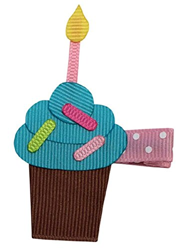 Bows for Belles Birthday Cupcake Hair Bow Ribbon Sculpture (Turquoise) Made in the (Birthday Sculpture)