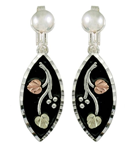 Antiqued Diamond-Cut Clip-On Earrings, Sterling Silver, 12k Green and Rose Gold Black Hills Gold Motif -
