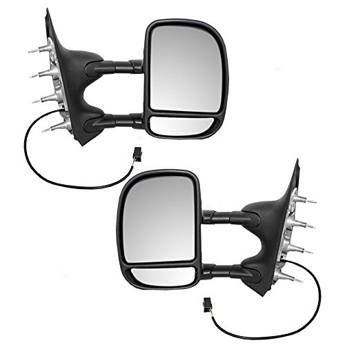 Driver and Passenger Power Tow Side Mirrors Telescopic Dual Arms Double Swing Replacement for 02-08 Ford E-Series Van 7C2Z17683CA 7C2Z17682CA