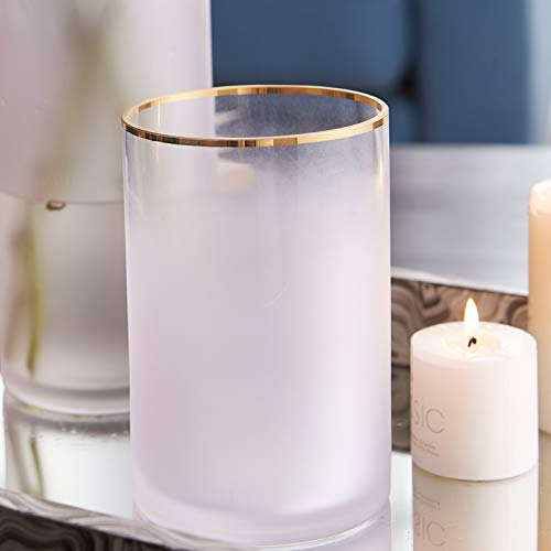 Cyl Home Hurricane Candleholders Frosted Translucent Glass Vases Gold Rim Decor Dining Table Centerpieces Cylinder Tea light Holders Gifts for Wedding Housewarming party, 5.9'' H x 3.9'' D, Light Pink