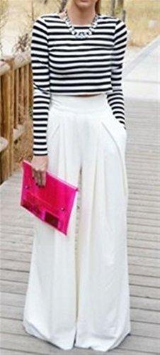 Lounayy Culotte Pantalone High Waist Bianca Autunno Donna Larghi Palazzo Lunga Baggychic Eleganti Trousers Monocromo Pantaloni Pantaloni q1rfqxR