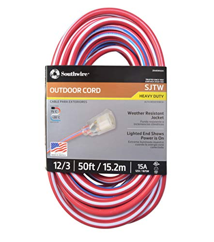 (Southwire 02548-USA1 50-Foot Contractor Grade 12/3 with Lighted End American Made Extension Cord)