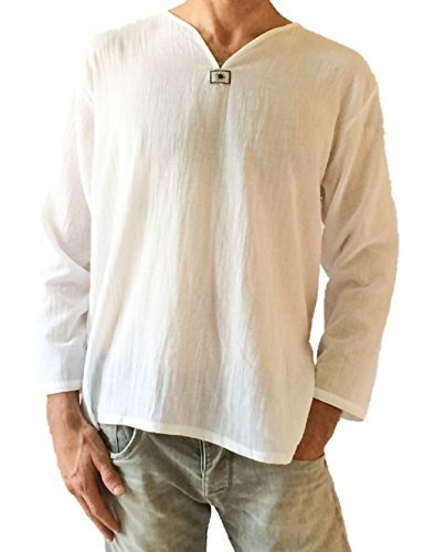 Men's Summer T-Shirt 100% Cotton Thai Hippie Shirt V-Neck Beach Yoga Top (Large, White)