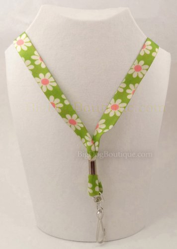 Green Daisy - Ultra Soft Neck Lanyard for Sensitive Skin - Key or Badge ID Holder
