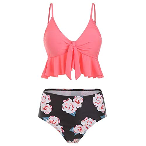 Pervobs Swimsuit for Women High Waisted Swimsuits Tummy Control 2PC Tankini Ruffled Top with Swim Bottom Bathing Suits(M, Pink)