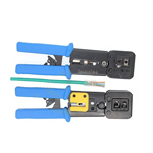 UbiGear EZ-RJ45 RJ11 Crimp Tool for Pass-Through and legacy connectors Professional High Performance Network Cable Crimper Crimping Tool (PassThroughCrimper)