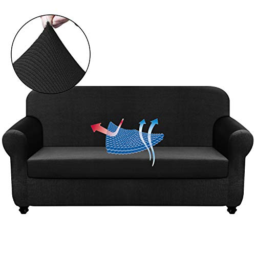 Chelzen Stretch Sofa Covers Living Room 2-Piece Extra Large Couch Covers Striped Furniture Protectors Spandex Fabric Dog Sofa Slipcovers (XL Sofa, Black)