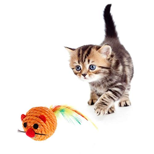 Best Quality cat Toys False Mouse Ball sisal Scratch chew Resistance Dog Puppy Kitten Play Interactive Funny Feather pet Toy