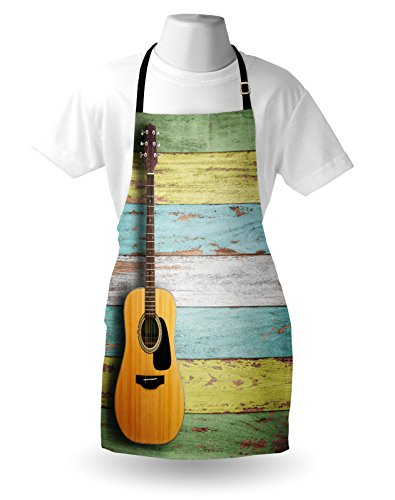 Ambesonne Music Apron, Acoustic Guitar on Colorful Painted Aged Wooden Planks Rustic Country Design Print, Unisex Kitchen Bib Apron with Adjustable Neck for Cooking Baking Gardening, Multicolor by Ambesonne (Image #2)'