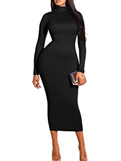 bb7fff771edec GOBLES Women's Sexy Turtleneck Long Sleeve Elegant Bodycon Party Long Dress