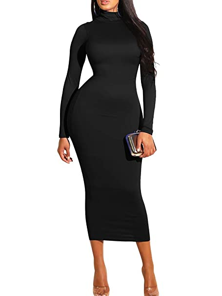 611fd931dc436 GOBLES Women's Sexy Turtleneck Long Sleeve Elegant Bodycon Party Long Dress