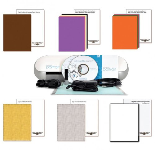 YummyInks Brand: Silhouette Portrait Cutter Set with 20 ChromaSheets, 5 ChocoSheets, 6 DazzleSheets and 24 White Frosting Sheets