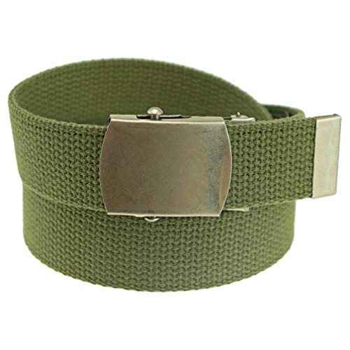 Cotton Slide - Cotton Military Web Belt MADE IN USA (Olive)