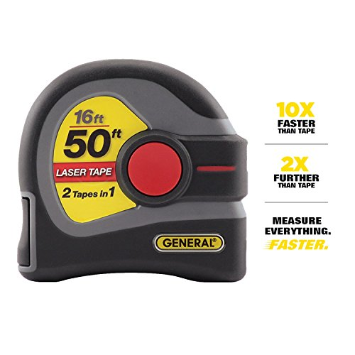General Tools LTM1 2-in-1 Laser Tape Measure, LCD Digital Display, 50' Laser...