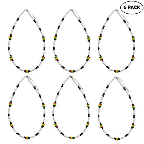 6 Pcs Rasta Puka Shell Necklace for Men Boys - Green, Red, Yellow Black Jamaican Color Beads and White Chips - Cool Surfer Beach Choker - Great Summer Theme Party Favors - Fashion Jewelry Accessories