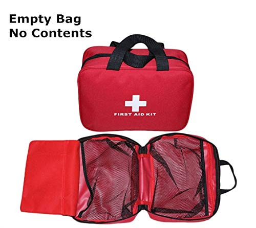 Jipemtra First Aid Bag Small Outdoor Travel Rescue Bag Empty Pouch First Responder Storage Compact Survival Medicine Bag Pocket Container for Car Home Office Sport Gym (Red with - Bag First Aid