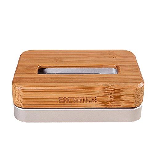 SAMDI Luxus Bambus Aluminium Handy Docking Ladestation Halterung für Apple iPhone 6 Plus 5S 5C 4S