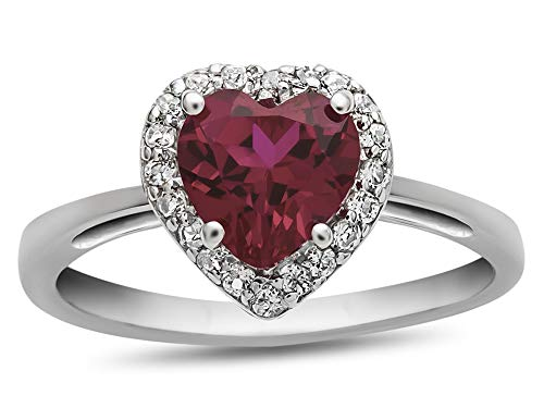 Finejewelers 10k White Gold 6mm Heart Shaped Created Ruby with White Topaz accent stones Halo Ring Size 6 ()