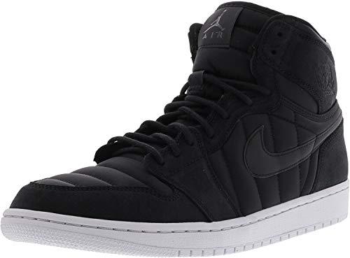 best service 3afe3 17eca Nike Men s Air Jordan 1 High Strap Black   - Pure Platinum High-Top  Basketball