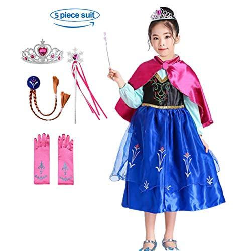 Domiray Princess Dress Frozen Anna Costume with Party Accessories (6pcs) (4-5 Years)