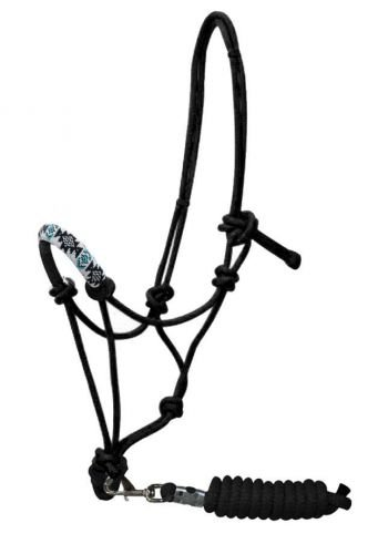 Lead Cowboy (Showman Teal & White Beaded Design Nose Cowboy Knot Rope Halter with 7' lead)