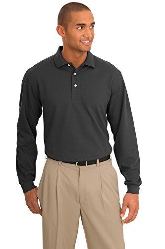 Port Authority Men's Tall Rapid Dry Long Sleeve Polo 2XLT Charcoal
