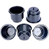 Amarine Made (Set of 5) Black Recessed Drop in Plastic Cup Drink Can Holder with Drain for Boat Car Marine Rv - Black