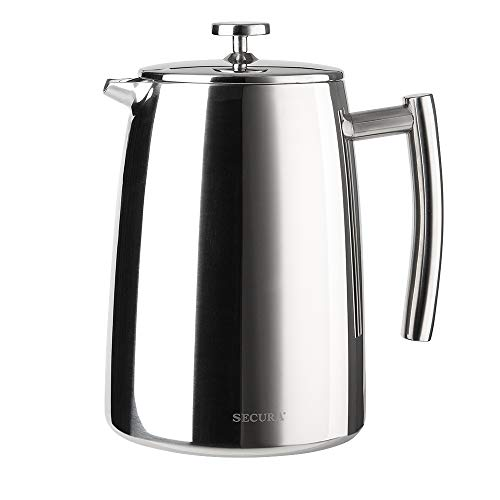 Secura 1500ML French Press Coffee Maker, 50-Ounce, Stainless Steel 18/10 SFP-50DSC, Extra Stainless Steel Screen ()