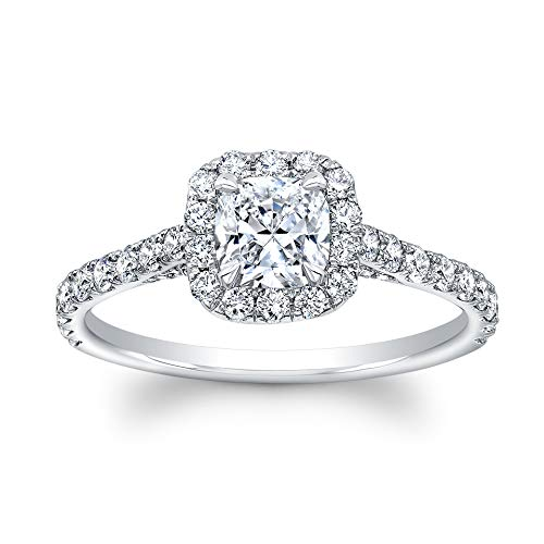 Cushion Cut Diamond Set in 18K White Gold Single Halo Pave Ring (Certified AGS .50 Center Stone J-K, VVS1 - VVS2 68 Full Cuts .67TW) (2 Carat Cushion Cut Diamond Actual Size)