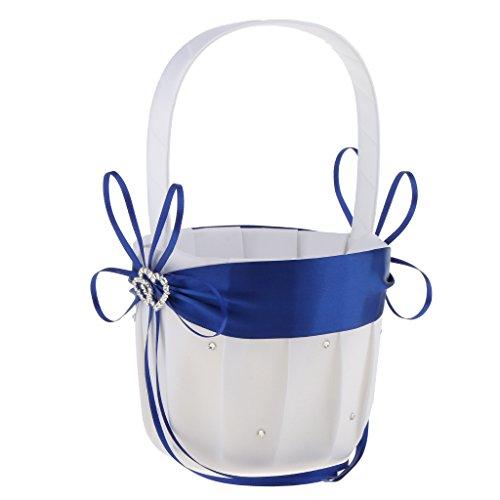 (MonkeyJack Flower Girls Basket Rhinestone Double Heart Satin Wedding Ceremony Party Decor - Royal Blue, as described)