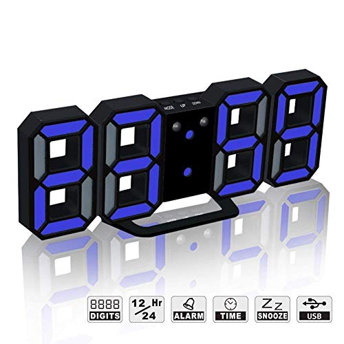 - LED Digital Alarm Clock For Desk / Shelf / Tabletop, Modern Home Decoration 3D Wall Clock, Easy To Read at Night, Loud Alarm and Snooze, Big Digit Display (Black Frame, Blue Light)