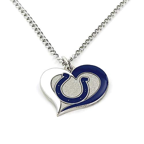 aminco NFL Indianapolis Colts Swirl Heart Necklace ()