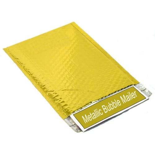 "New 2000 Gold Metallic Glamour Bubble Mailers Padded Envelope Bags 7.5"" x 11"" for cheap"