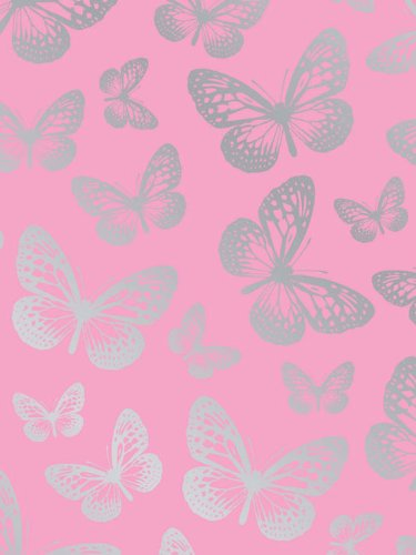 Butterfly Pink And Silver Wallpaper 10m