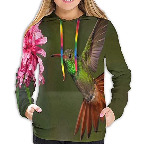 lightly Women's Hoodies Hummingbirds Pink Flower Great Girl Casual Hooded Athletic Pullover