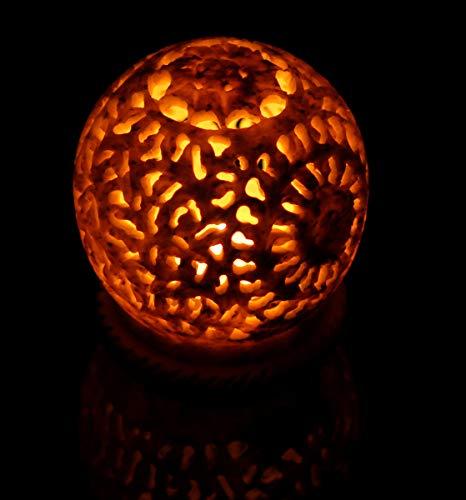Crafkart Stone Tealight Tea Light Votive Holder Hand Carved Sphere Shaped Soapstone Floral Tea Light Holder with Intricate Openwork Decorative Lantern Lamp - Perfect Handmade Home & Office - Shaped Holder Tealight
