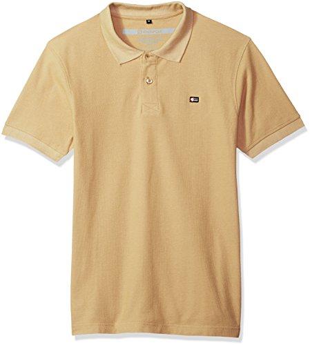 (Southpole Men's Classic Short Sleeve Solid Polo Shirt, Khaki, Large)