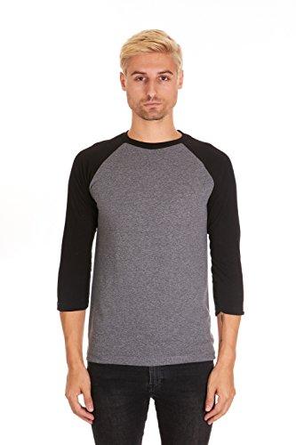 - Pacific Mens Raglan 3/4 Sleeve Baseball T-Shirt (XX-Large, Arctic Grey/Black)