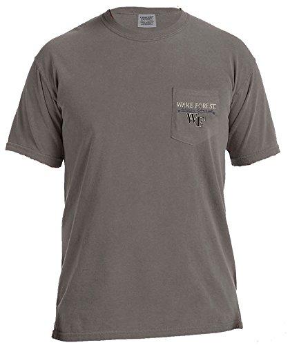 NCAA Wake Forest Demon Deacons Adventures Short Sleeve Comfort Color Pocket Tee, X-Large, Grey