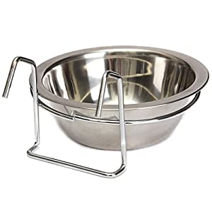 Yosoo Stainless Steel Hook on Feeding Dog Bowl Pet Rabbit Bird Cat Dog Food Water Cage Cup Crate Cup with Clamp Holder… Click on image for further info.