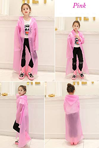 Kids Rain Poncho Raincoats, Lightweight Waterproof Reusable Rain Jacket Coat with Hooded for Girls Boys, Portable Poncho Rainwear for Outdoor/Camping/Hiking/Parks, 1 Pack Blue or 1PCS Pink Rain Poncho