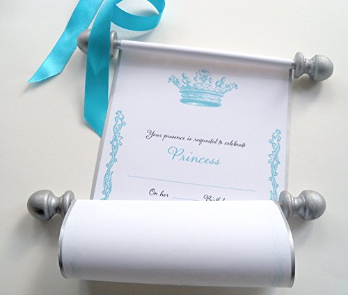 Royal princess birthday invitation scrolls, princess crown, blue and silver, 5x9