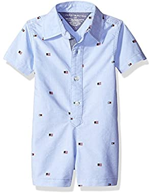 Tommy Hilfiger Baby Boys' Printed Oxford Romper
