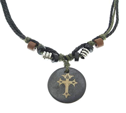 Surfer Cord Necklace with Cross Crucifix Carved Bone Pendant - Fully Adjustable - Black & Green Cord