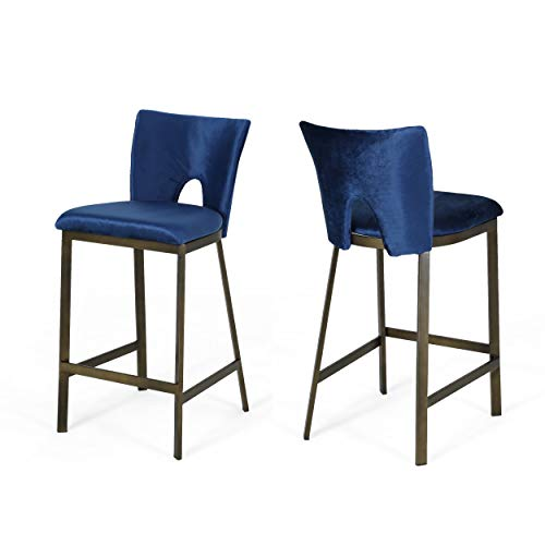 "Great Deal Furniture Teresa Modern Glam 26"" Velvet Barstool with Brass Metal Legs (Set of 2), Antique Brass Finish and Navy Blue"